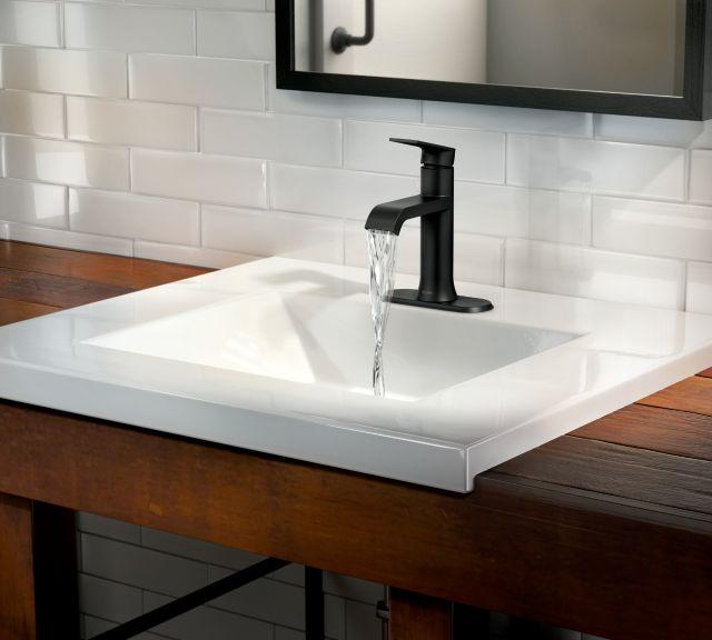 Genta Matte Black One-Handle Bathroom Faucet by Moen