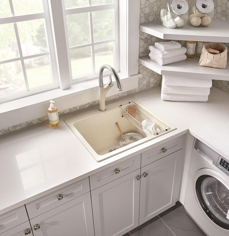 BLANCO LIVEN™ dual mount SILGRANIT® laundry sink.