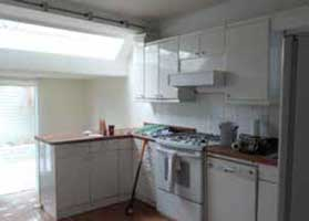 Before photo of dated kitchen
