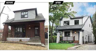 Exterior Before and After of Craftsman Style Home